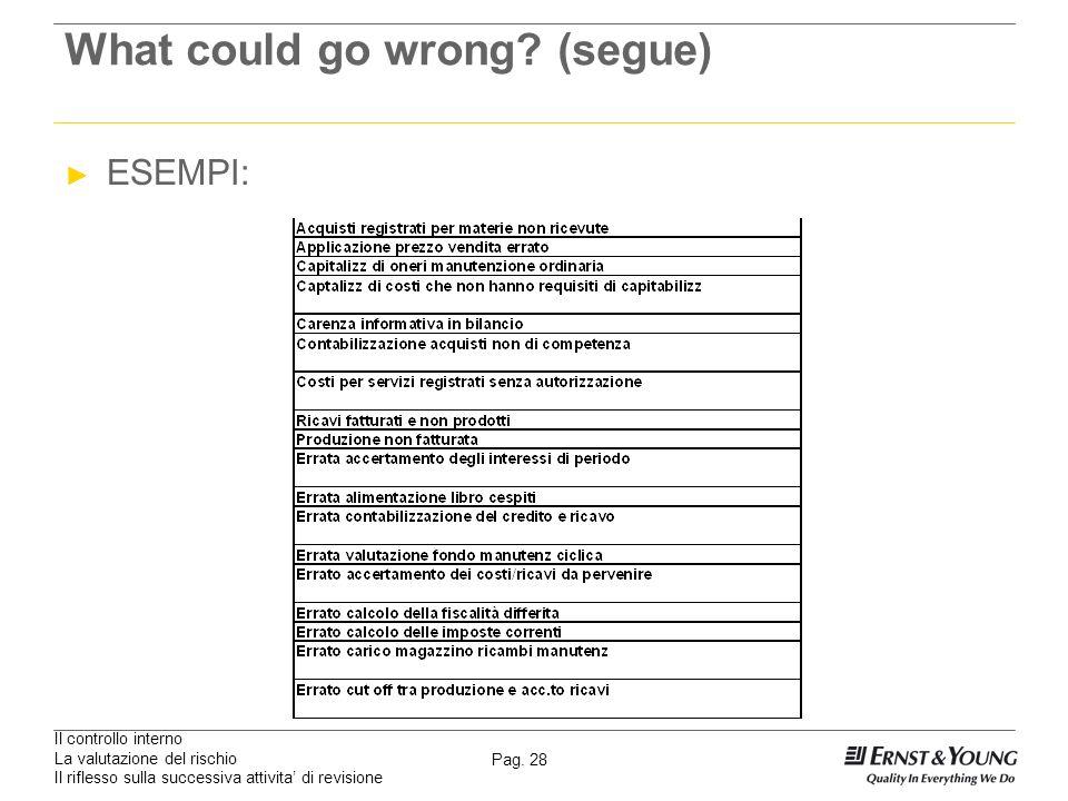 Il controllo interno La valutazione del rischio Il riflesso sulla successiva attivita di revisione Pag. 28 What could go wrong? (segue) ESEMPI: