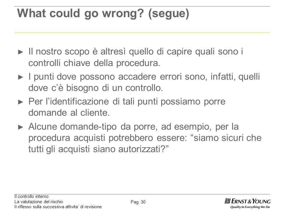 Il controllo interno La valutazione del rischio Il riflesso sulla successiva attivita di revisione Pag. 30 What could go wrong? (segue) Il nostro scop