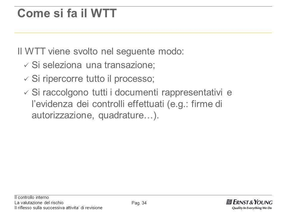 Il controllo interno La valutazione del rischio Il riflesso sulla successiva attivita di revisione Pag. 34 Come si fa il WTT Il WTT viene svolto nel s