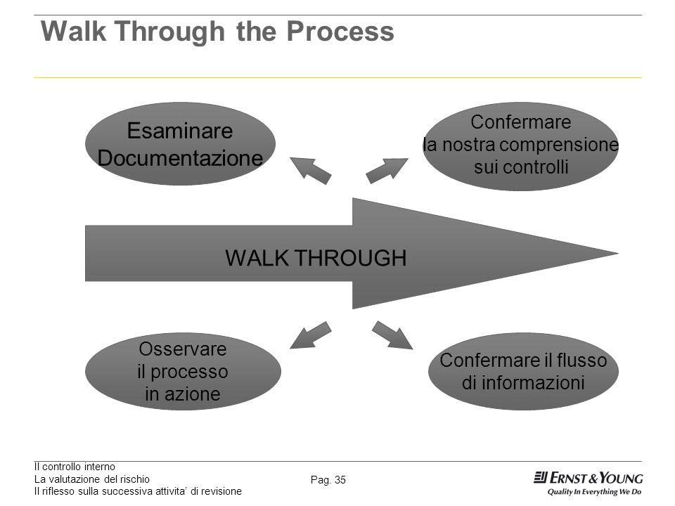 Il controllo interno La valutazione del rischio Il riflesso sulla successiva attivita di revisione Pag. 35 Walk Through the Process WALK THROUGH Esami