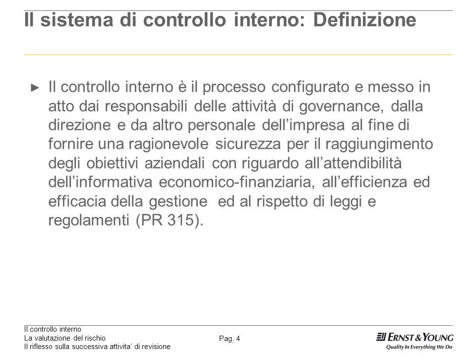 Il controllo interno La valutazione del rischio Il riflesso sulla successiva attivita di revisione Pag. 4 Il sistema di controllo interno: Definizione