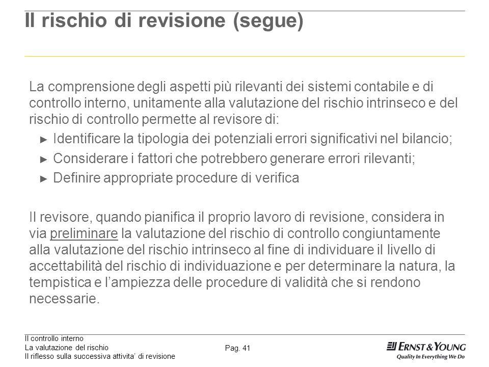 Il controllo interno La valutazione del rischio Il riflesso sulla successiva attivita di revisione Pag. 41 Il rischio di revisione (segue) La comprens