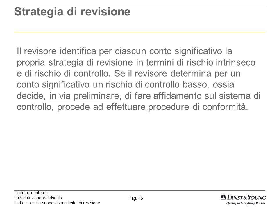 Il controllo interno La valutazione del rischio Il riflesso sulla successiva attivita di revisione Pag. 45 Strategia di revisione Il revisore identifi