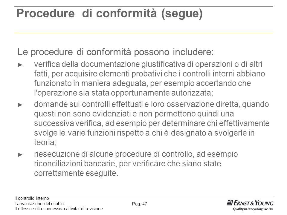Il controllo interno La valutazione del rischio Il riflesso sulla successiva attivita di revisione Pag. 47 Procedure di conformità (segue) Le procedur