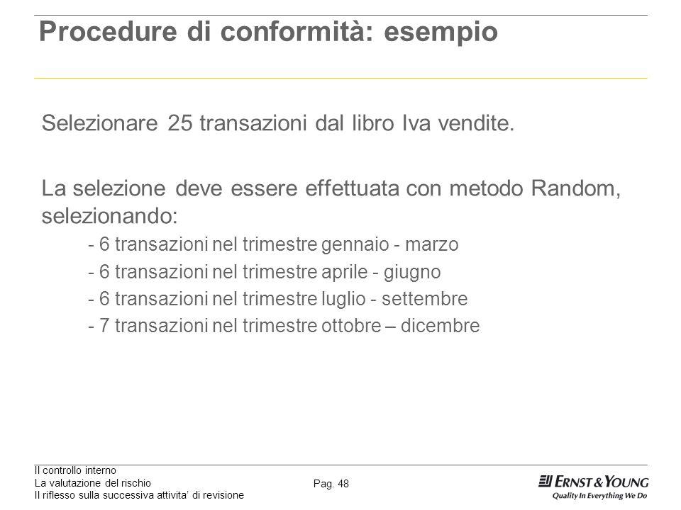 Il controllo interno La valutazione del rischio Il riflesso sulla successiva attivita di revisione Pag. 48 Procedure di conformità: esempio Selezionar