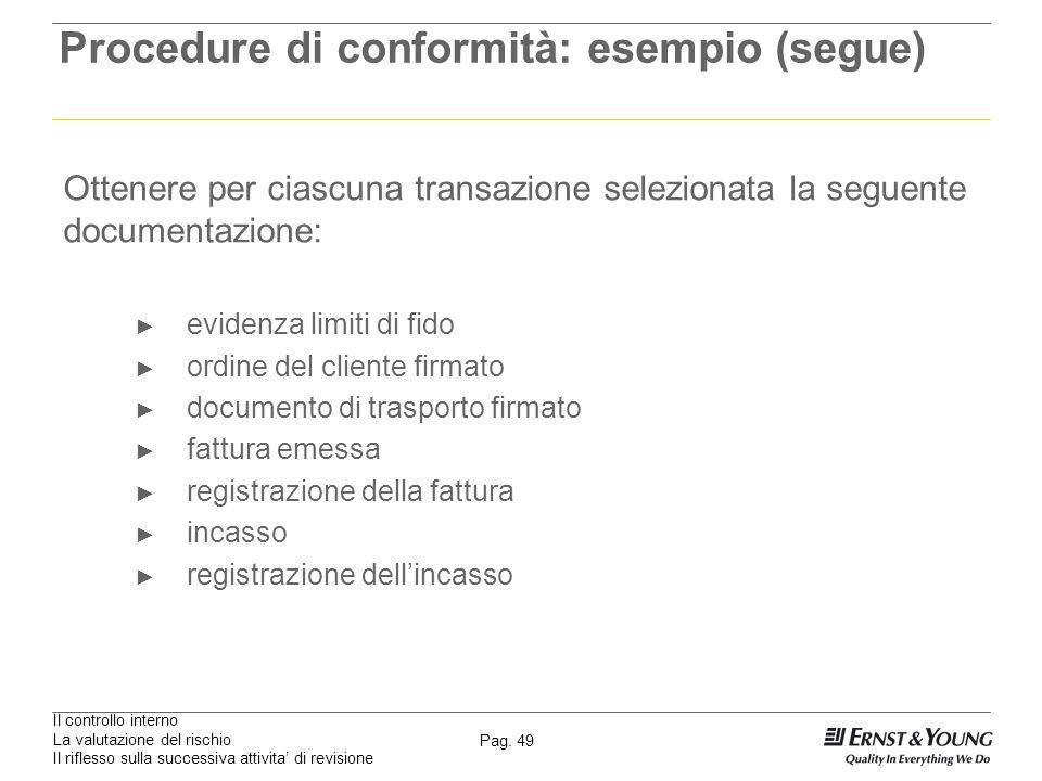 Il controllo interno La valutazione del rischio Il riflesso sulla successiva attivita di revisione Pag. 49 Procedure di conformità: esempio (segue) Ot