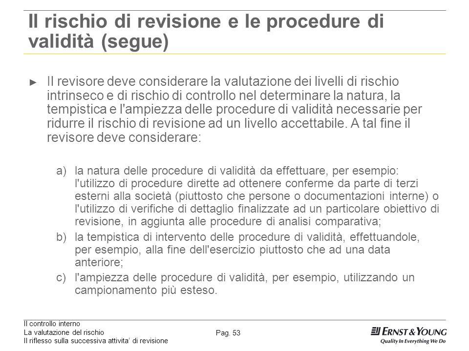 Il controllo interno La valutazione del rischio Il riflesso sulla successiva attivita di revisione Pag. 53 Il rischio di revisione e le procedure di v