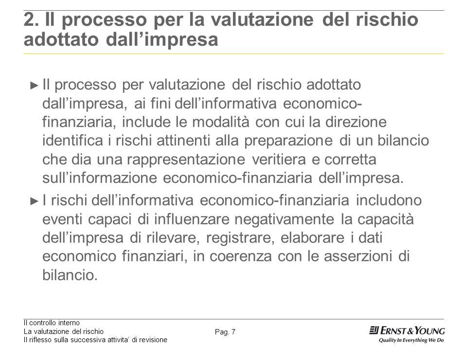 Il controllo interno La valutazione del rischio Il riflesso sulla successiva attivita di revisione Pag. 7 2. Il processo per la valutazione del rischi