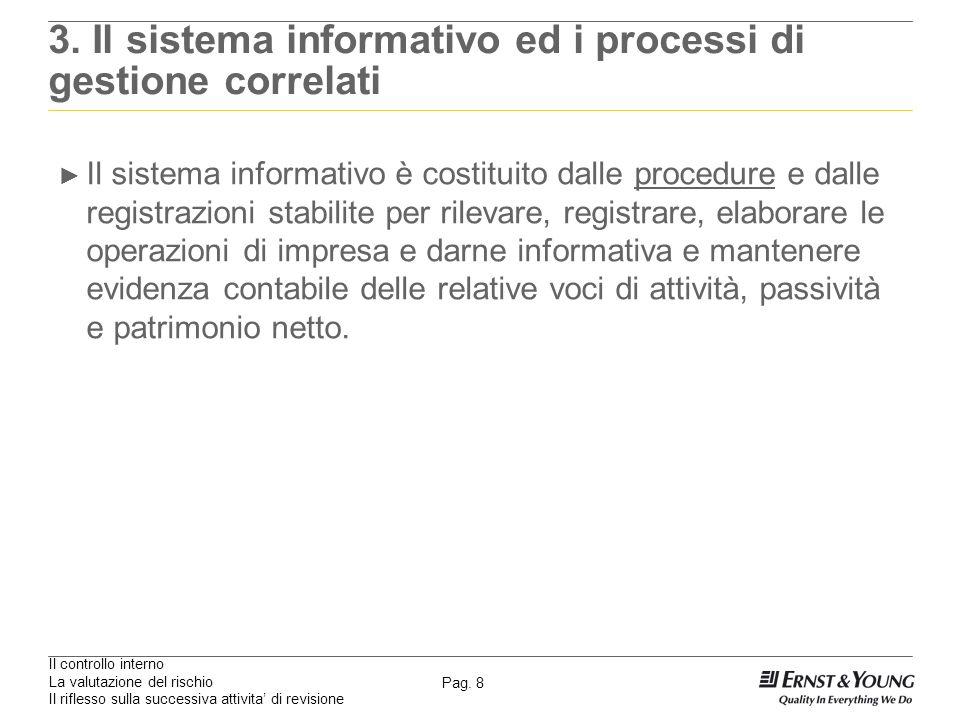Il controllo interno La valutazione del rischio Il riflesso sulla successiva attivita di revisione Pag. 8 3. Il sistema informativo ed i processi di g