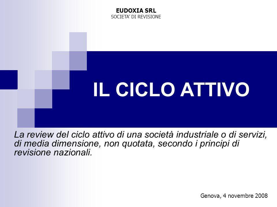 Genova, 4 novembre 2008 IL CICLO ATTIVO La review del ciclo attivo di una società industriale o di servizi, di media dimensione, non quotata, secondo