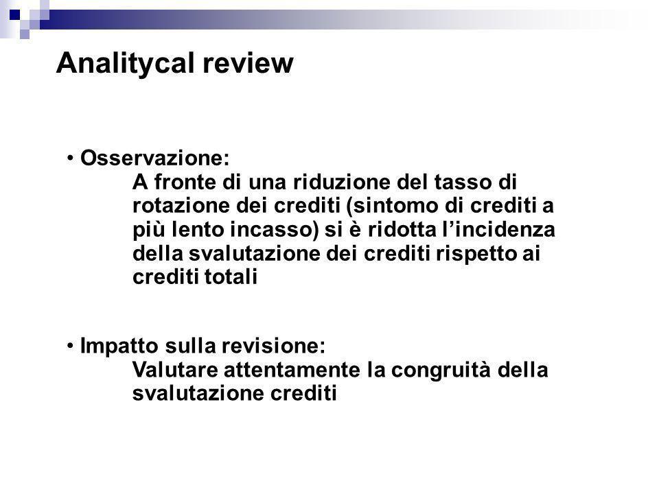 Analitycal review Osservazione: A fronte di una riduzione del tasso di rotazione dei crediti (sintomo di crediti a più lento incasso) si è ridotta lin