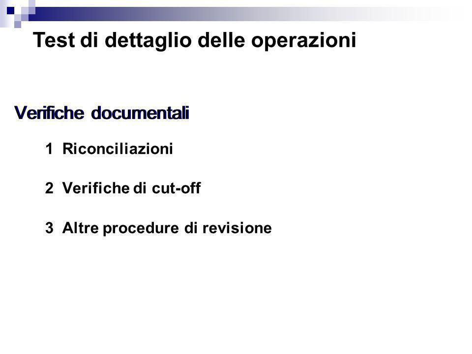 1 Riconciliazioni 2 Verifiche di cut-off 3 Altre procedure di revisione Verifiche documentali Test di dettaglio delle operazioni