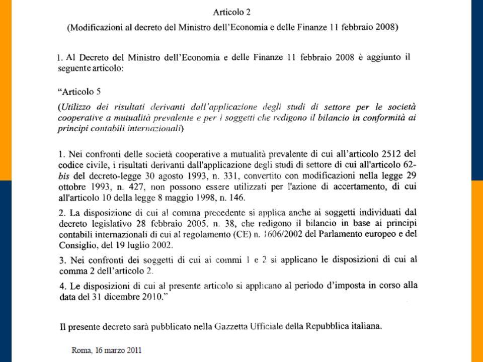 STUDI DI SETTORE 2011 Roma, 22 giugno 2010