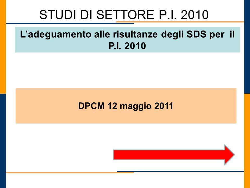 STUDI DI SETTORE P.I. 2010 Ladeguamento alle risultanze degli SDS per il P.I. 2010 DPCM 12 maggio 2011