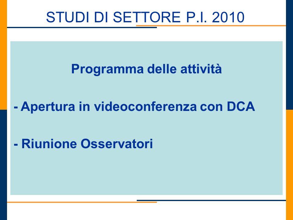STUDI DI SETTORE P.I. 2010 Programma delle attività - Apertura in videoconferenza con DCA - Riunione Osservatori