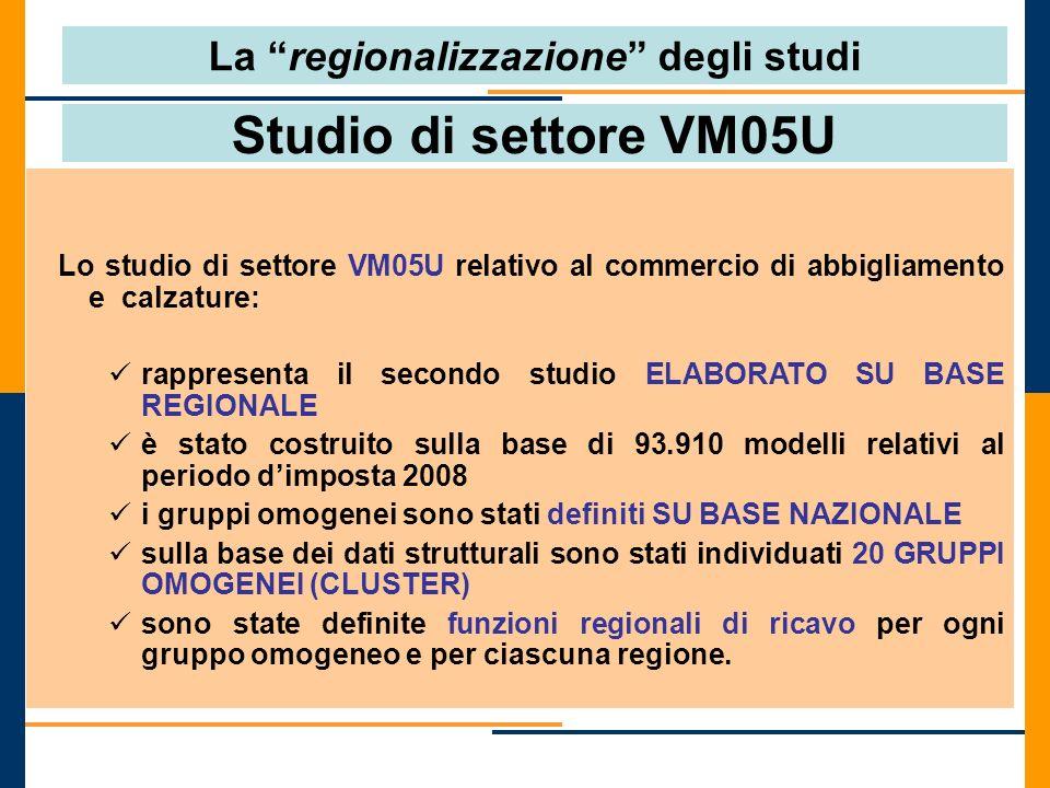 Studio di settore VM05U Lo studio di settore VM05U relativo al commercio di abbigliamento e calzature: rappresenta il secondo studio ELABORATO SU BASE