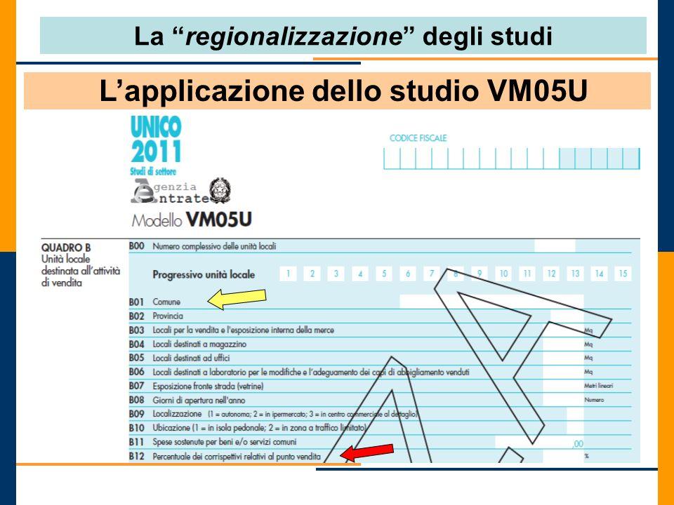 Lapplicazione dello studio VM05U Luogo di svolgimento dellattività La regionalizzazione degli studi