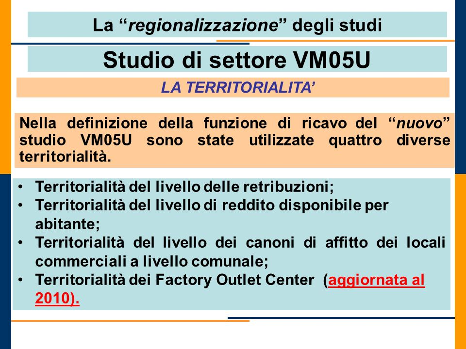Studio di settore VM05U LA TERRITORIALITA Territorialità del livello delle retribuzioni; Territorialità del livello di reddito disponibile per abitant