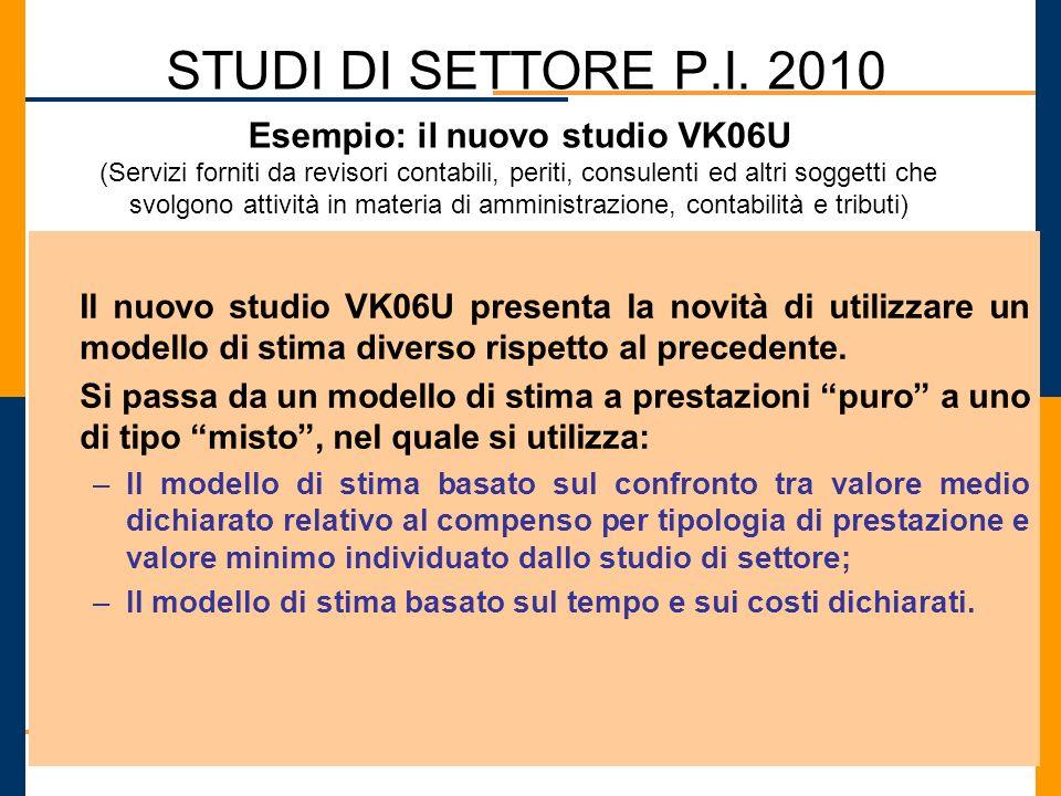 STUDI DI SETTORE P.I. 2010 Il nuovo studio VK06U presenta la novità di utilizzare un modello di stima diverso rispetto al precedente. Si passa da un m