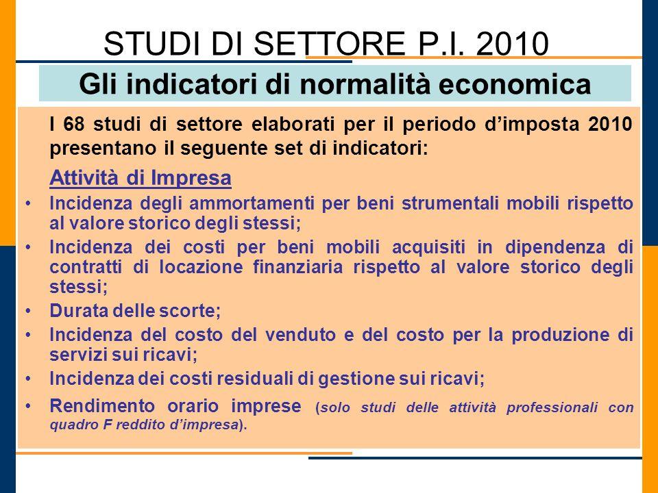 STUDI DI SETTORE P.I. 2010 Gli indicatori di normalità economica I 68 studi di settore elaborati per il periodo dimposta 2010 presentano il seguente s