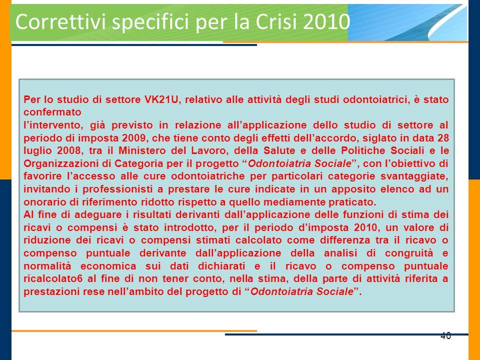 40 Correttivi specifici per la Crisi 2010 Per lo studio di settore VK21U, relativo alle attività degli studi odontoiatrici, è stato confermato linterv