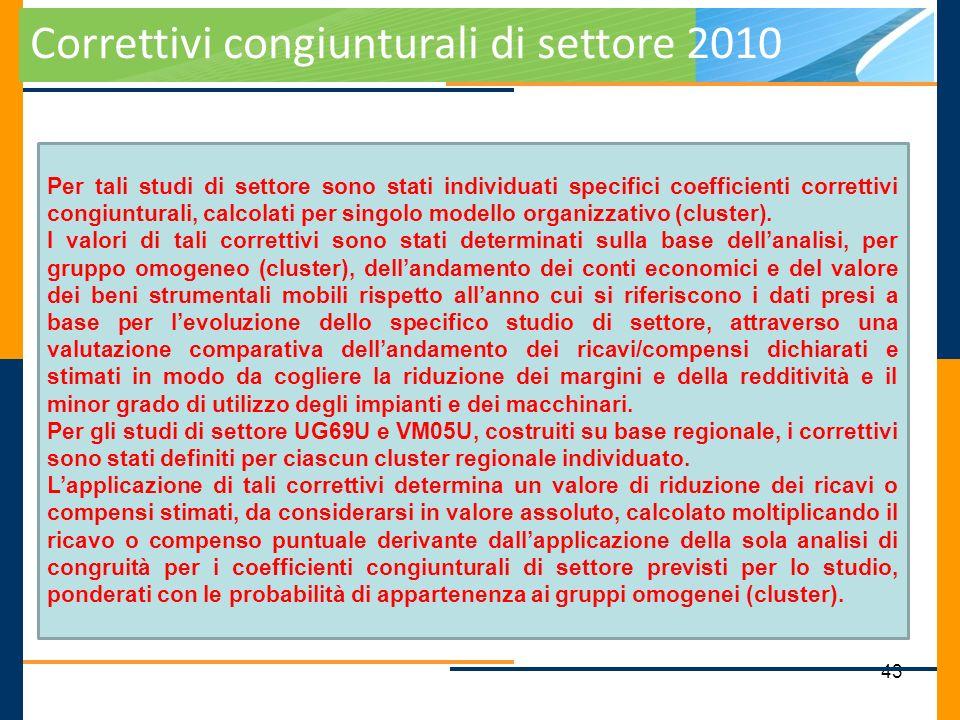 43 Correttivi congiunturali di settore 2010 Per tali studi di settore sono stati individuati specifici coefficienti correttivi congiunturali, calcolat