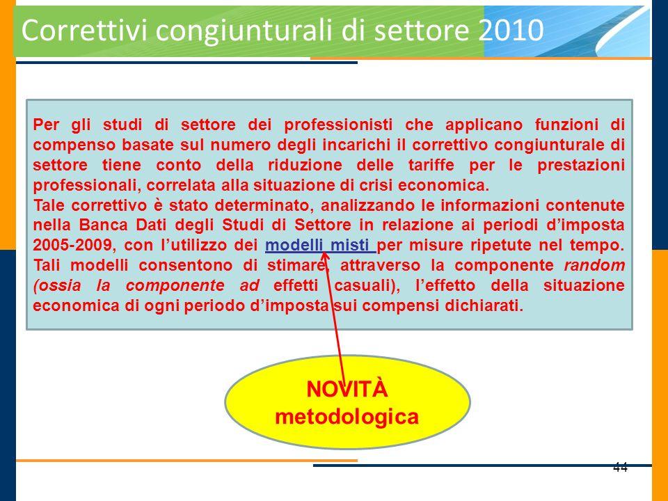 44 Correttivi congiunturali di settore 2010 Per gli studi di settore dei professionisti che applicano funzioni di compenso basate sul numero degli inc