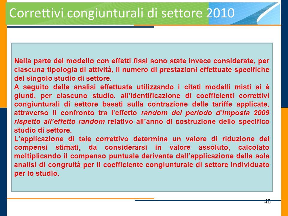 45 Correttivi congiunturali di settore 2010 Nella parte del modello con effetti fissi sono state invece considerate, per ciascuna tipologia di attivit