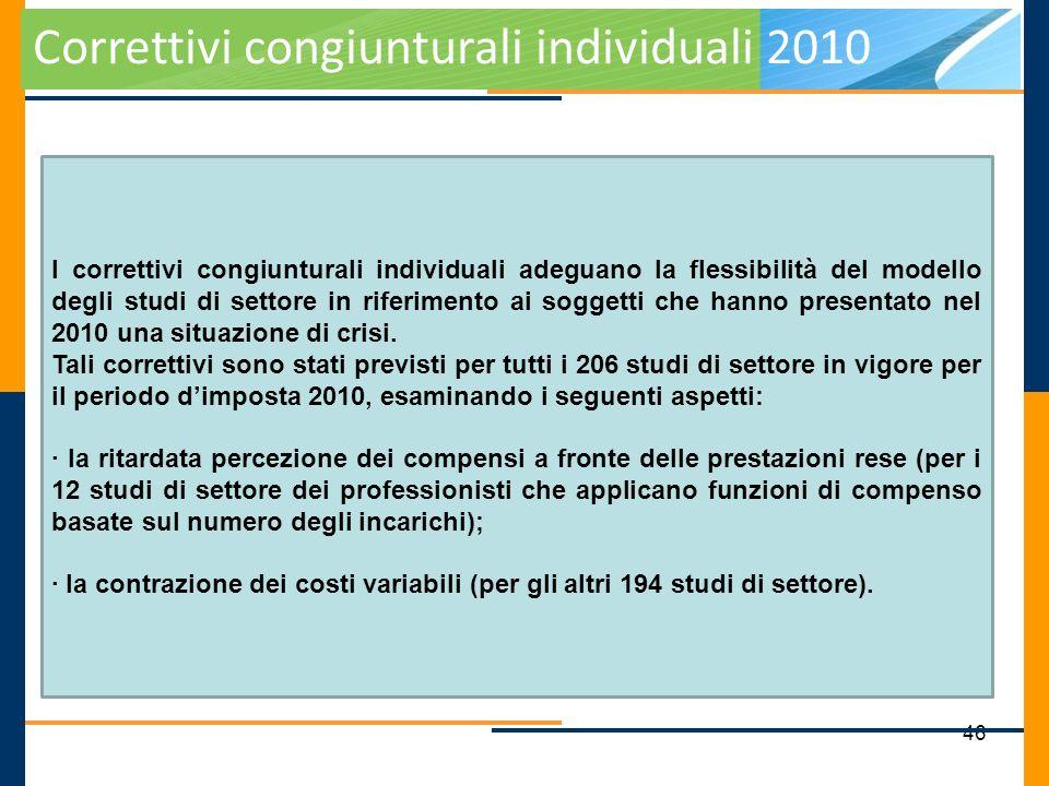 46 Correttivi congiunturali individuali 2010 I correttivi congiunturali individuali adeguano la flessibilità del modello degli studi di settore in rif