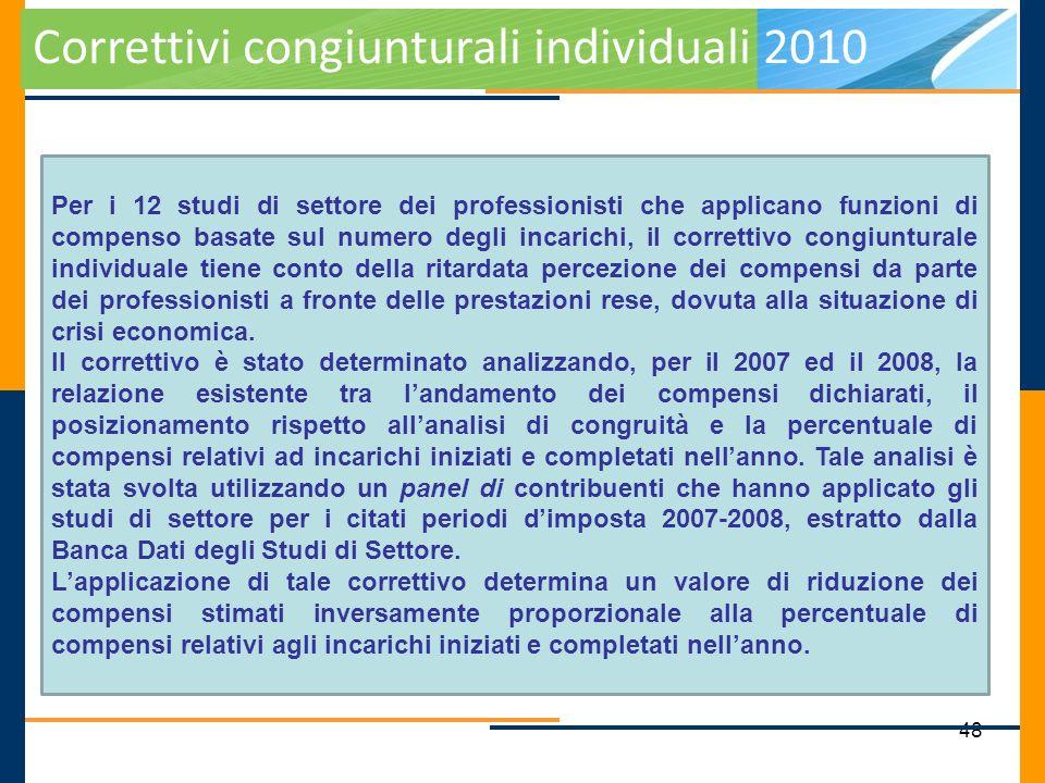 48 Correttivi congiunturali individuali 2010 Per i 12 studi di settore dei professionisti che applicano funzioni di compenso basate sul numero degli i