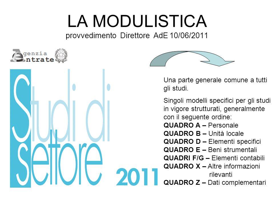 LA MODULISTICA provvedimento Direttore AdE 10/06/2011 Una parte generale comune a tutti gli studi. Singoli modelli specifici per gli studi in vigore s