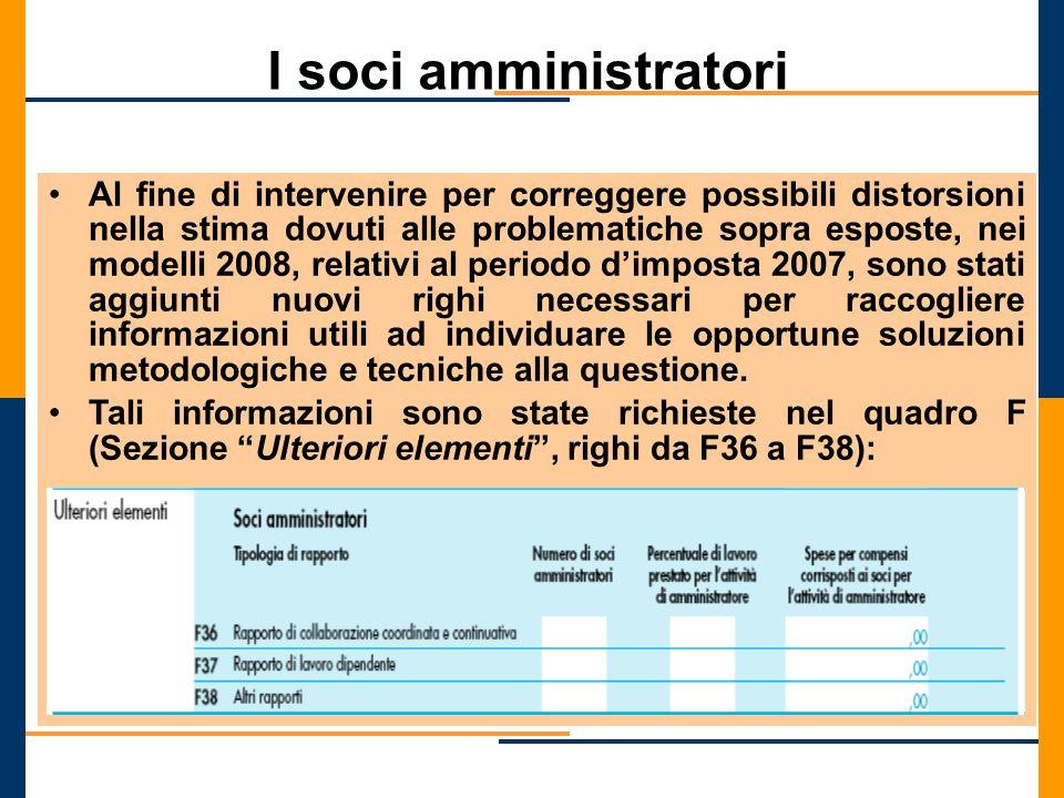 I soci amministratori Al fine di intervenire per correggere possibili distorsioni nella stima dovuti alle problematiche sopra esposte, nei modelli 200
