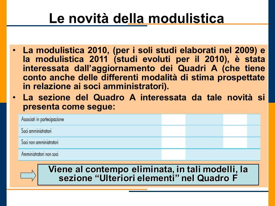 Le novità della modulistica La modulistica 2010, (per i soli studi elaborati nel 2009) e la modulistica 2011 (studi evoluti per il 2010), è stata inte