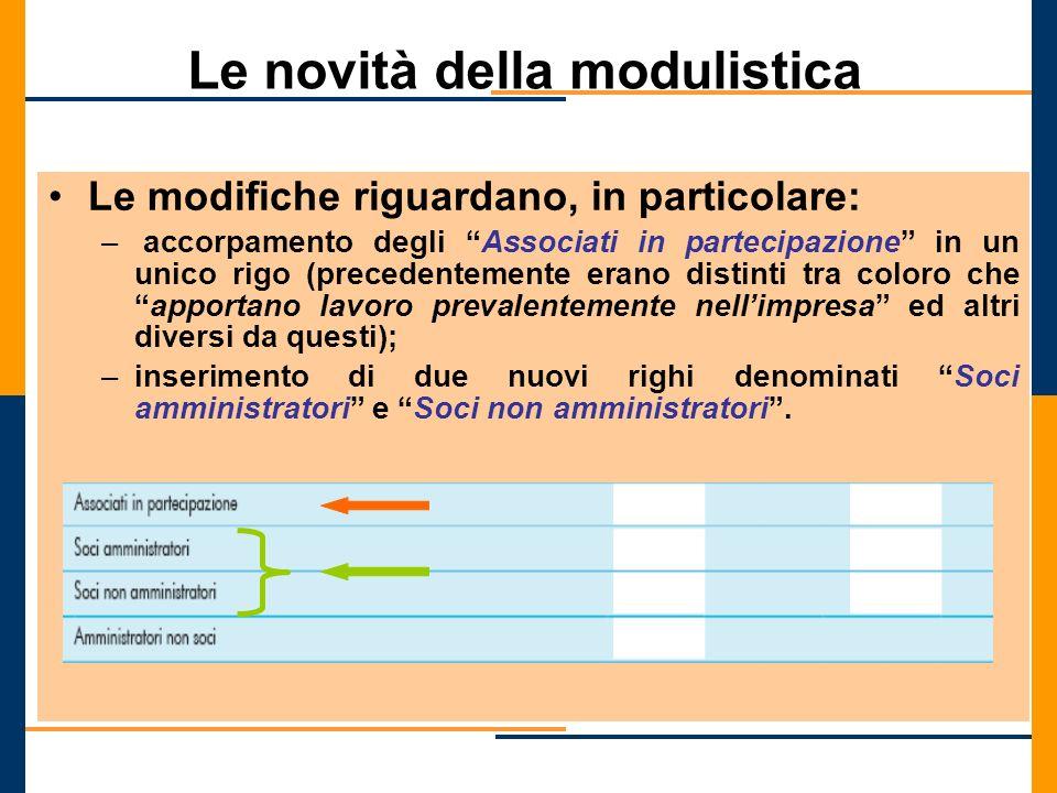 Le novità della modulistica Le modifiche riguardano, in particolare: – accorpamento degli Associati in partecipazione in un unico rigo (precedentement