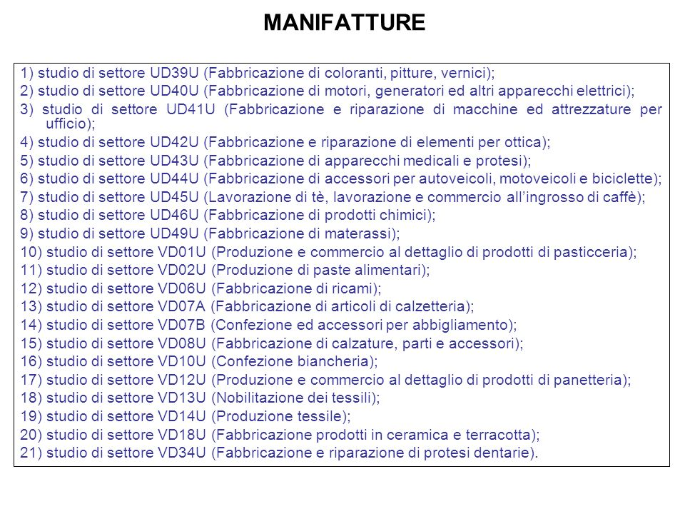 MANIFATTURE 1) studio di settore UD39U (Fabbricazione di coloranti, pitture, vernici); 2) studio di settore UD40U (Fabbricazione di motori, generatori