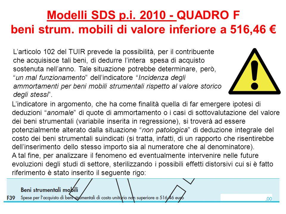 Modelli SDS p.i. 2010 - QUADRO F beni strum. mobili di valore inferiore a 516,46 Larticolo 102 del TUIR prevede la possibilità, per il contribuente ch