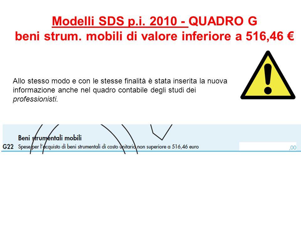 Modelli SDS p.i. 2010 - QUADRO G beni strum. mobili di valore inferiore a 516,46 Allo stesso modo e con le stesse finalità è stata inserita la nuova i