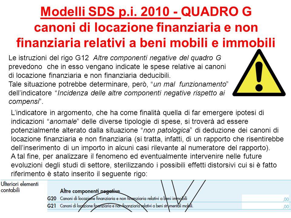 Modelli SDS p.i. 2010 - QUADRO G canoni di locazione finanziaria e non finanziaria relativi a beni mobili e immobili Le istruzioni del rigo G12 Altre