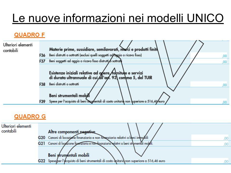 Le nuove informazioni nei modelli UNICO QUADRO F QUADRO G