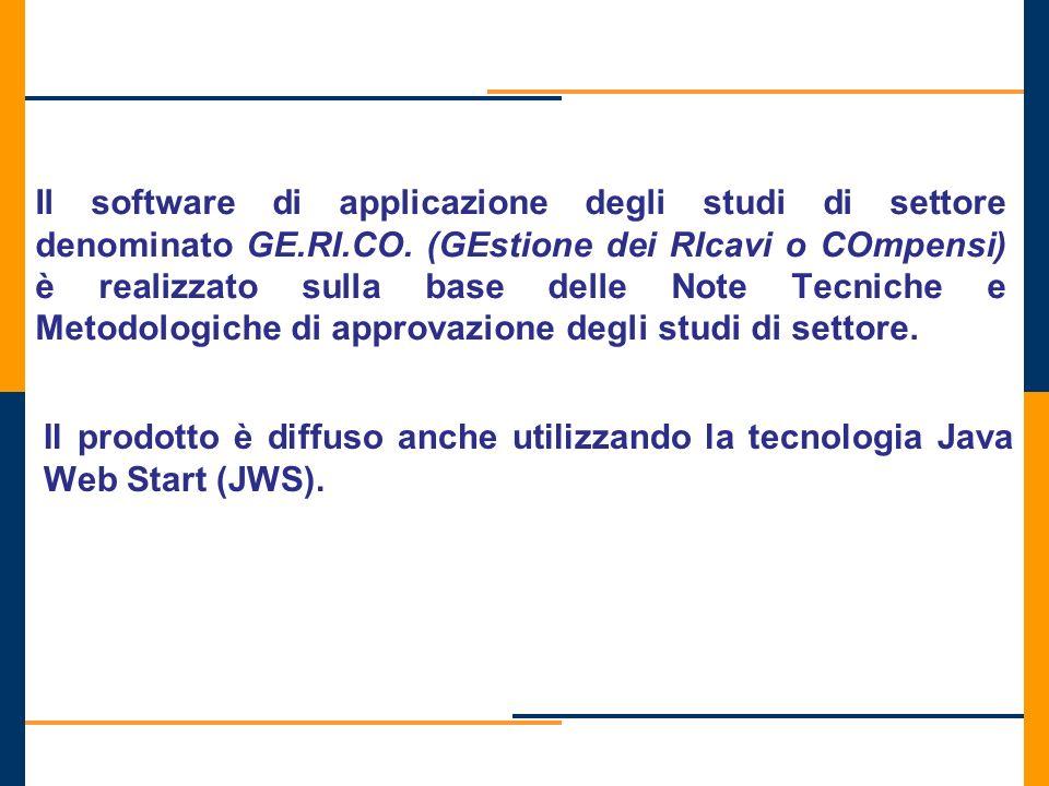Il software di applicazione degli studi di settore denominato GE.RI.CO. (GEstione dei RIcavi o COmpensi) è realizzato sulla base delle Note Tecniche e