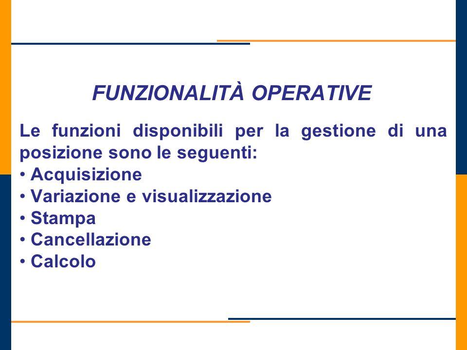 FUNZIONALITÀ OPERATIVE Le funzioni disponibili per la gestione di una posizione sono le seguenti: Acquisizione Variazione e visualizzazione Stampa Can