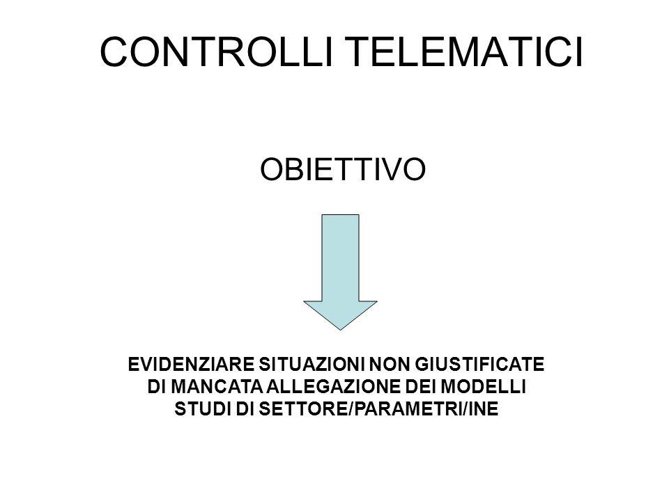 CONTROLLI TELEMATICI OBIETTIVO EVIDENZIARE SITUAZIONI NON GIUSTIFICATE DI MANCATA ALLEGAZIONE DEI MODELLI STUDI DI SETTORE/PARAMETRI/INE
