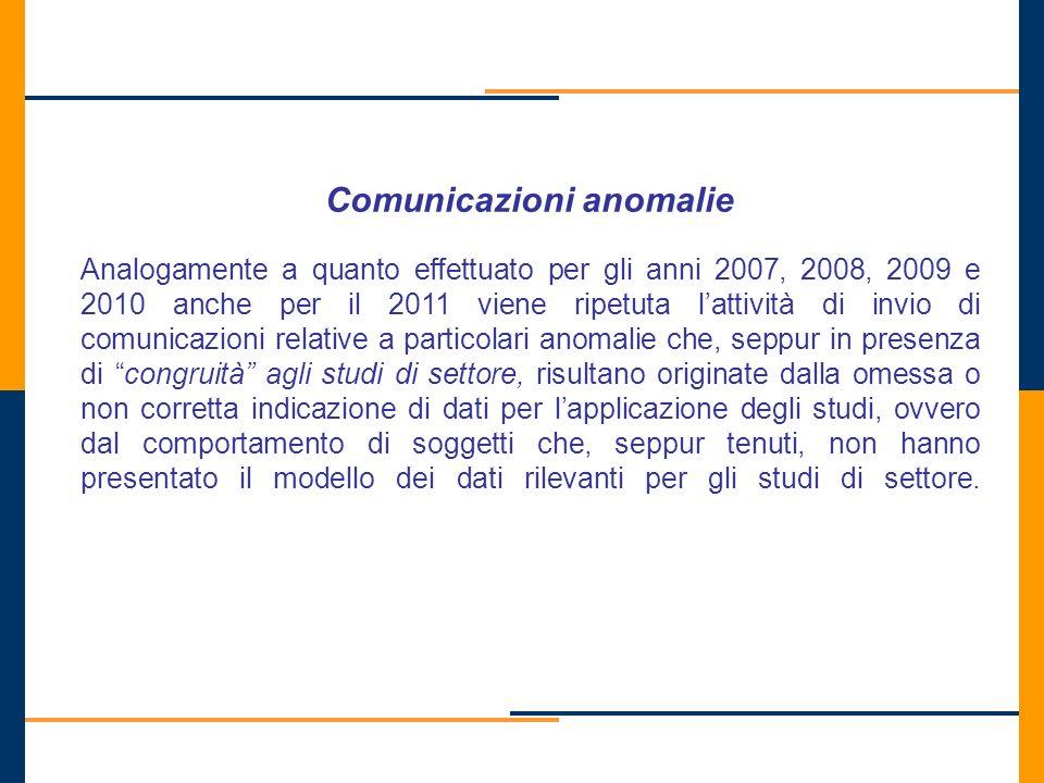Comunicazioni anomalie Analogamente a quanto effettuato per gli anni 2007, 2008, 2009 e 2010 anche per il 2011 viene ripetuta lattività di invio di co