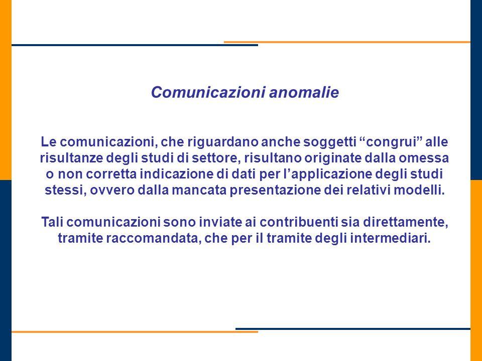 Comunicazioni anomalie Le comunicazioni, che riguardano anche soggetti congrui alle risultanze degli studi di settore, risultano originate dalla omess