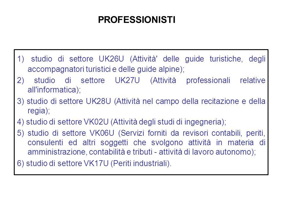 PROFESSIONISTI 1) studio di settore UK26U (Attività' delle guide turistiche, degli accompagnatori turistici e delle guide alpine); 2) studio di settor