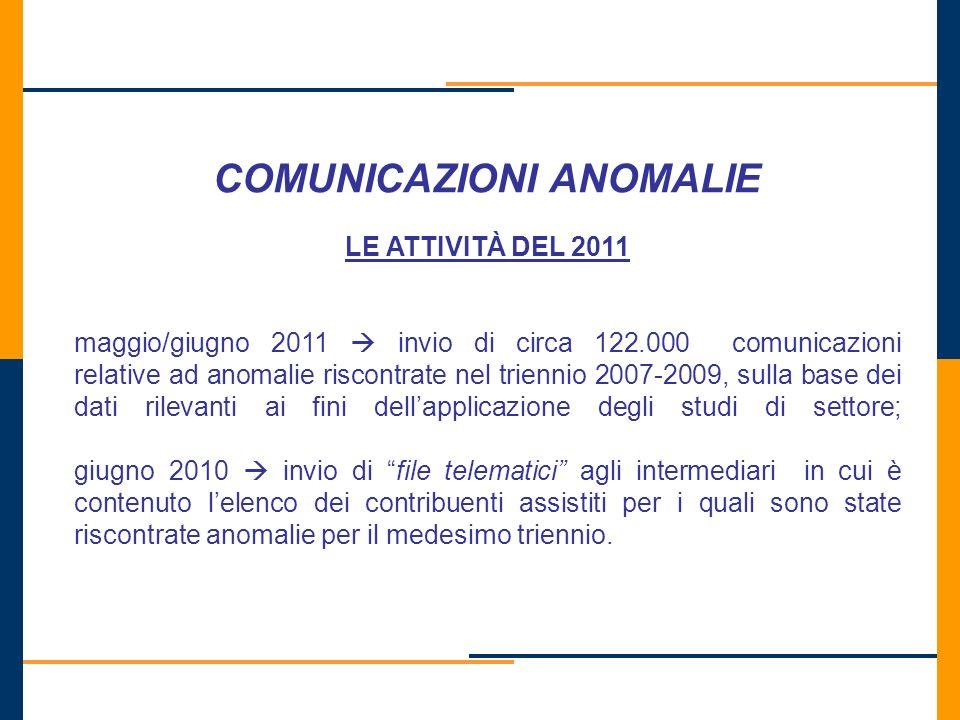 COMUNICAZIONI ANOMALIE LE ATTIVITÀ DEL 2011 maggio/giugno 2011 invio di circa 122.000 comunicazioni relative ad anomalie riscontrate nel triennio 2007