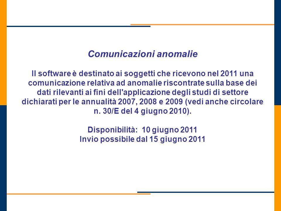 Comunicazioni anomalie Il software è destinato ai soggetti che ricevono nel 2011 una comunicazione relativa ad anomalie riscontrate sulla base dei dat