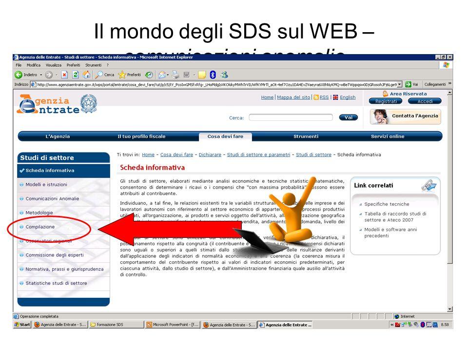 Il mondo degli SDS sul WEB – comunicazioni anomalie