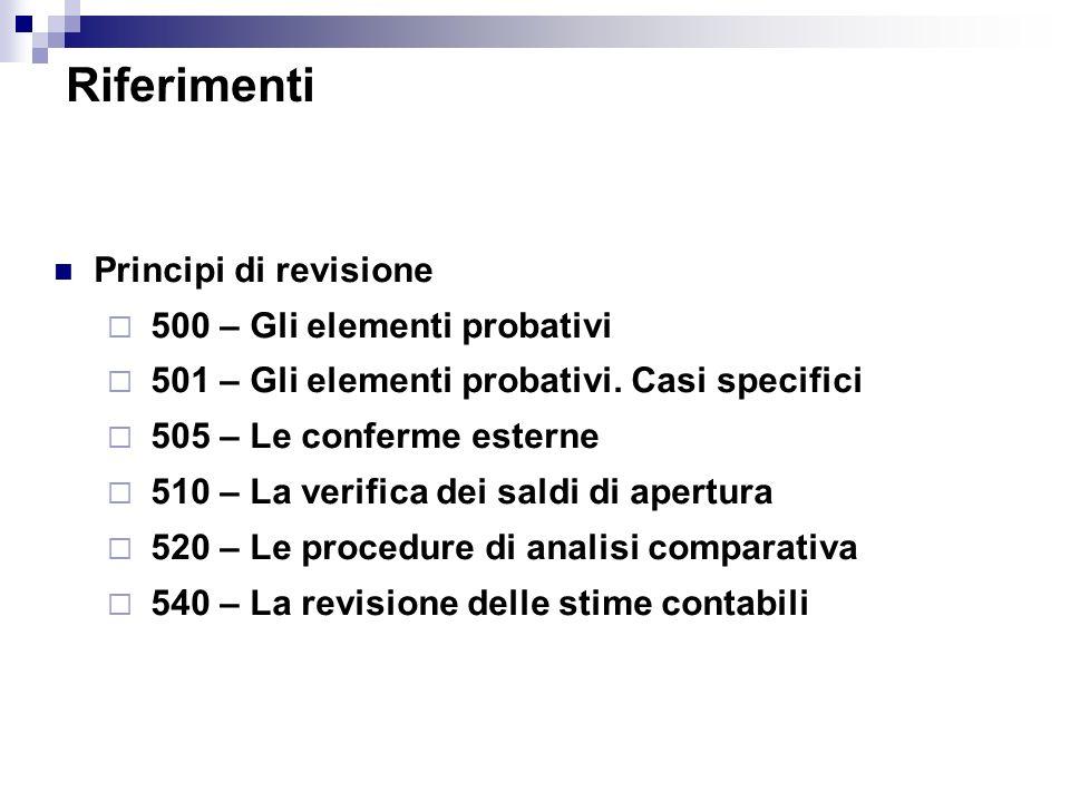 Principi di revisione 500 – Gli elementi probativi 501 – Gli elementi probativi. Casi specifici 505 – Le conferme esterne 510 – La verifica dei saldi