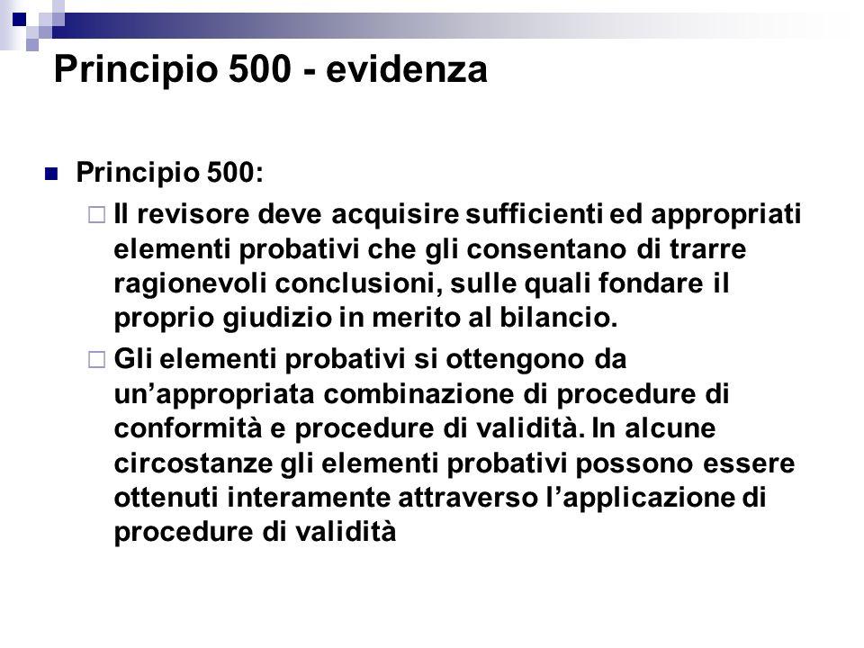 Principio 500: Il revisore deve acquisire sufficienti ed appropriati elementi probativi che gli consentano di trarre ragionevoli conclusioni, sulle qu